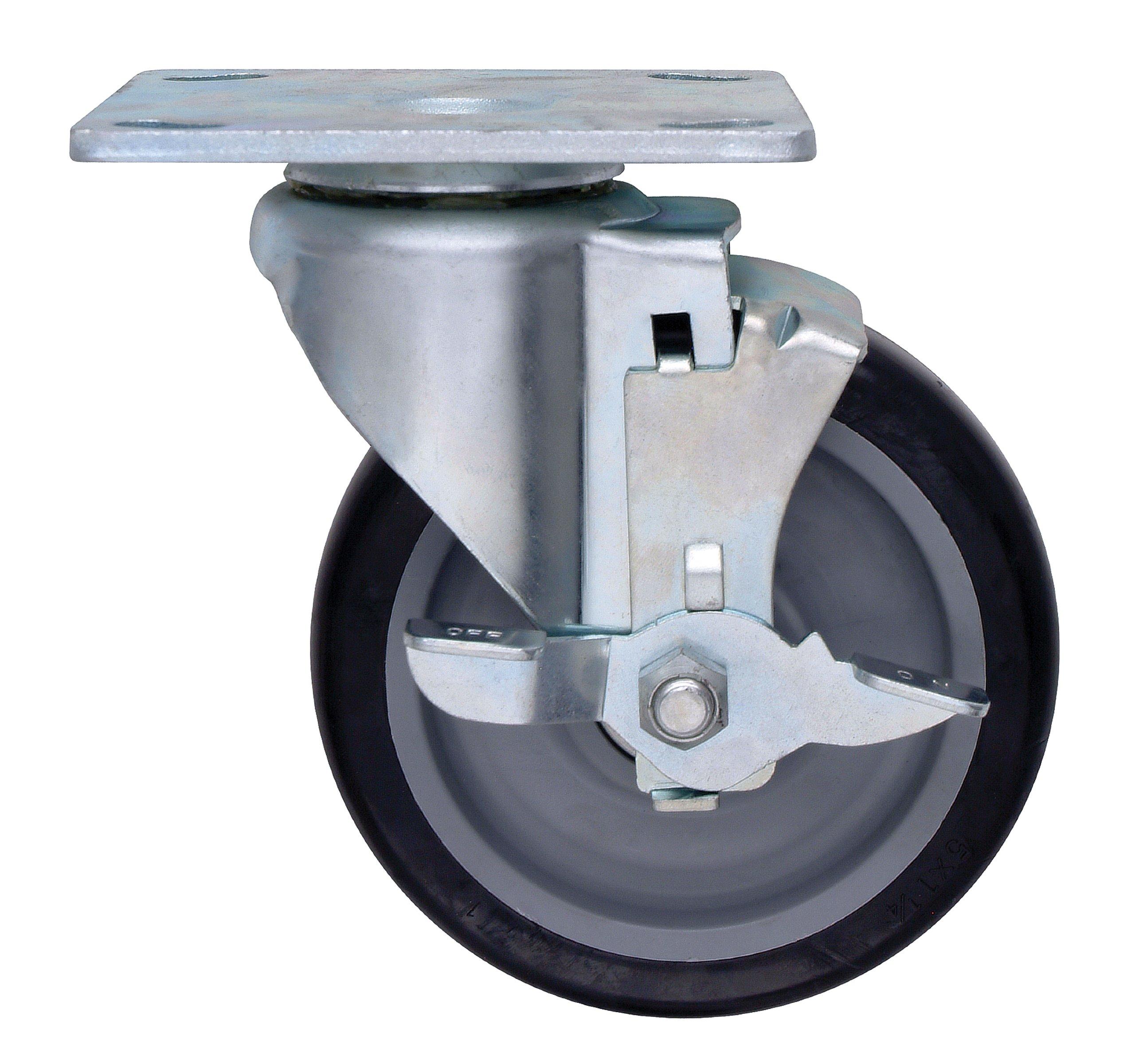 Quantum Storage Systems PT-PSB 1-1/4'' Diameter Polyurethane Wheel with Brake One Swivel Plate Caster, 300 lbs Capacity