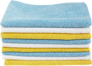 AmazonBasics Blue, White, and Yellow Microfiber Cleaning Cloths - Pack of 36