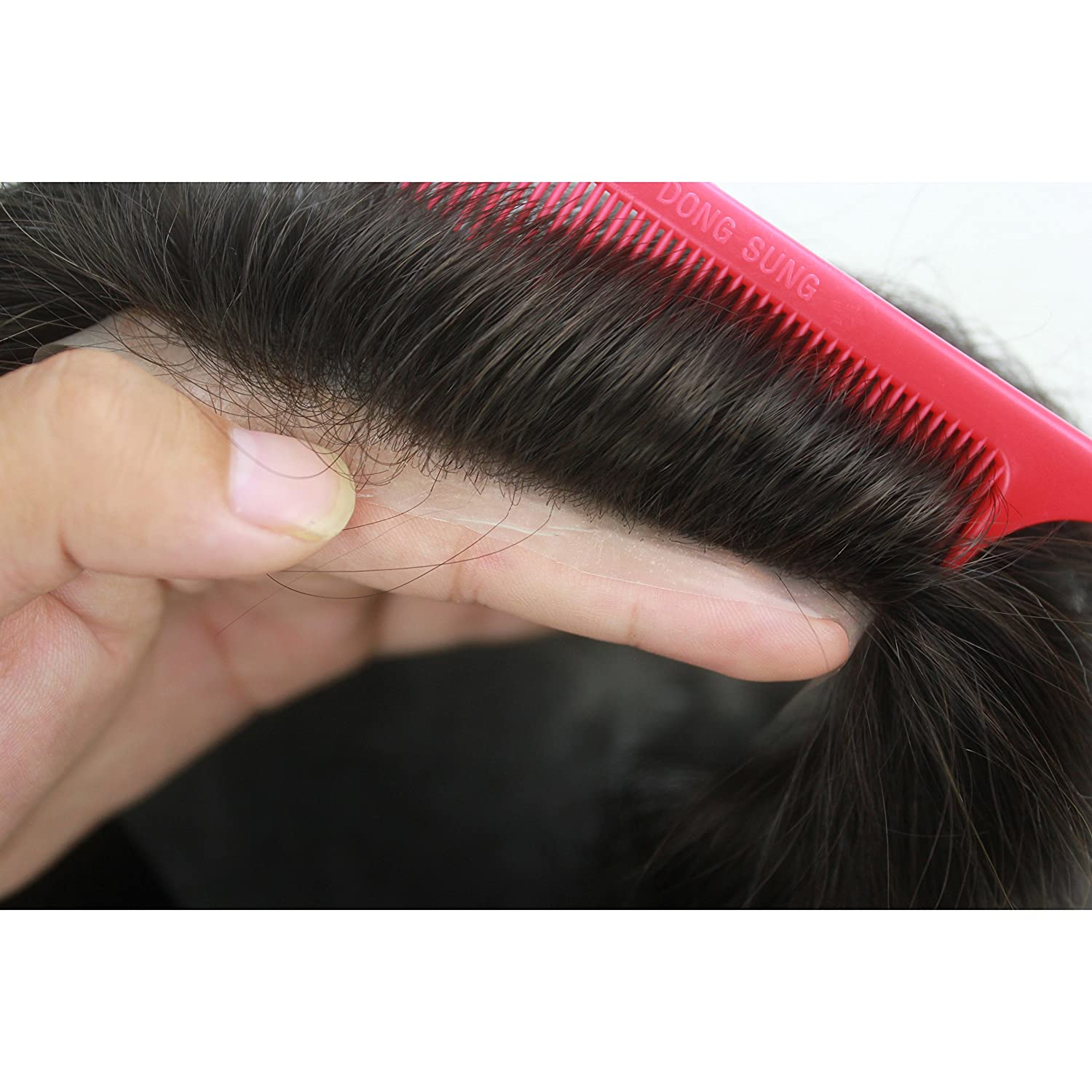 Lordhair Toupee for Men Thin Skin Toupee for Men Mens Hair Pieces Replacement System Jet Black...
