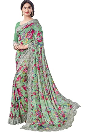 342d12ebe1 Vipul Georgette Printed and Resham embroidery fancy lace border Saree With  Blouse Piece
