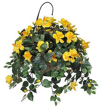 Amazon house of silk flowers artificial hibiscus hanging basket amazon house of silk flowers artificial hibiscus hanging basket yellow home kitchen mightylinksfo