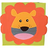 Smiling Lion Collapsible Toy Storage Organizer by Clever Creations | Sturdy Toy Box Folding Storage Ottoman for Kids Bedroom | Perfect Size Toy Chest for Organizing Books, Toys, Clothes, Shoes