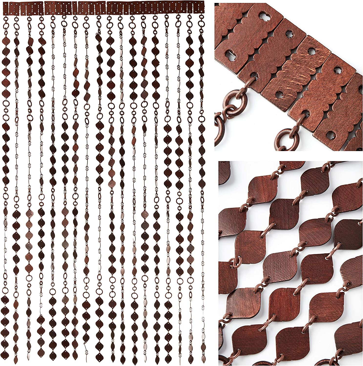 Door Curtain Screen From Wooden Beads Size - 90 x 200 cm - Handmade Hanging Beaded Door Blinds - Easy To Install Style Nr.2