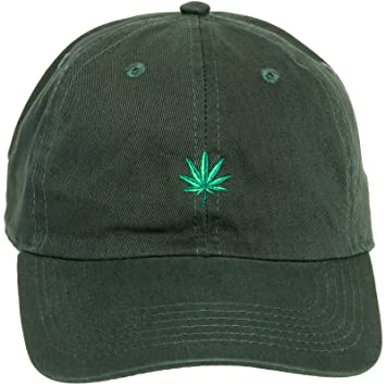9a8ded1f272 Newhattan 100% Cotton Weed Leaf Dad Hat - Adjustable Sports Cap (Green)