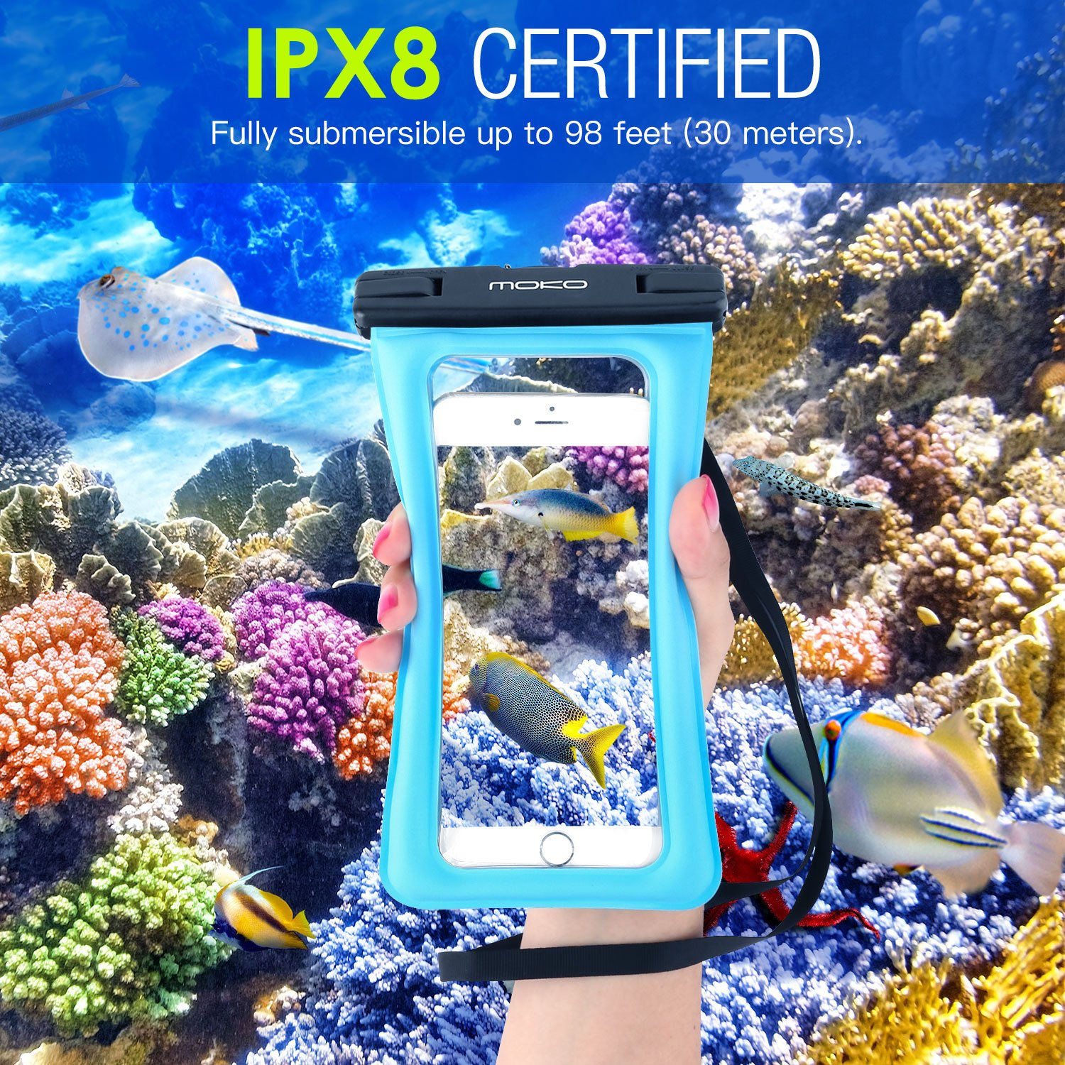 MoKo Floating Waterproof Phone Case [3 Pack], Universal Cellphone Pouch Dry Bag with Armband Neck Strap for iPhone X/8 Plus/8/7/6S Plus, Samsung Galaxy S9/S8 Plus, Note 9/8, Huawei, Google Nexus by MoKo (Image #3)