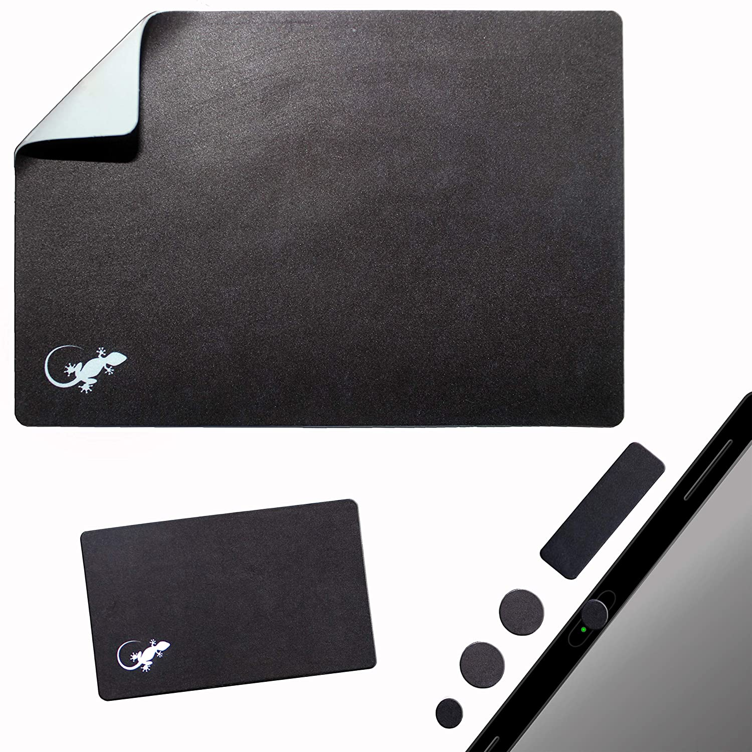 Mouse Pad Adhesive Bottom - Sticks to Any Surface - Portable - Webcam Covers and Screen Cleaner Included (Black)