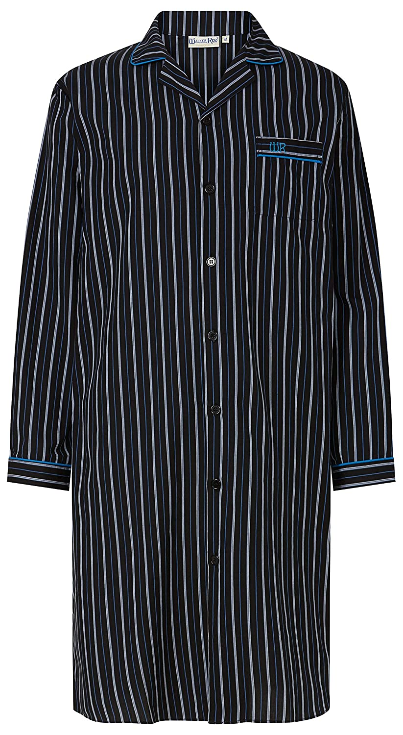 Mens Black Striped Print 100% Cotton 42 106cm Long Sleeve Button Up Collared Nightshirt