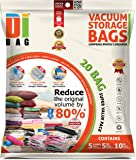 DIBAG 20-Piece Jumbo Large and Medium Vacuum Storage Bags with 2-Piece Sealed Compression Plastic Bags