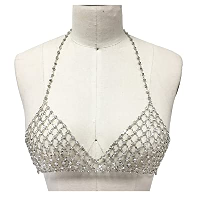 851c376c5871b Amazon.com  Metal bra rhinestone silver bikini chain bralette  Jewelry