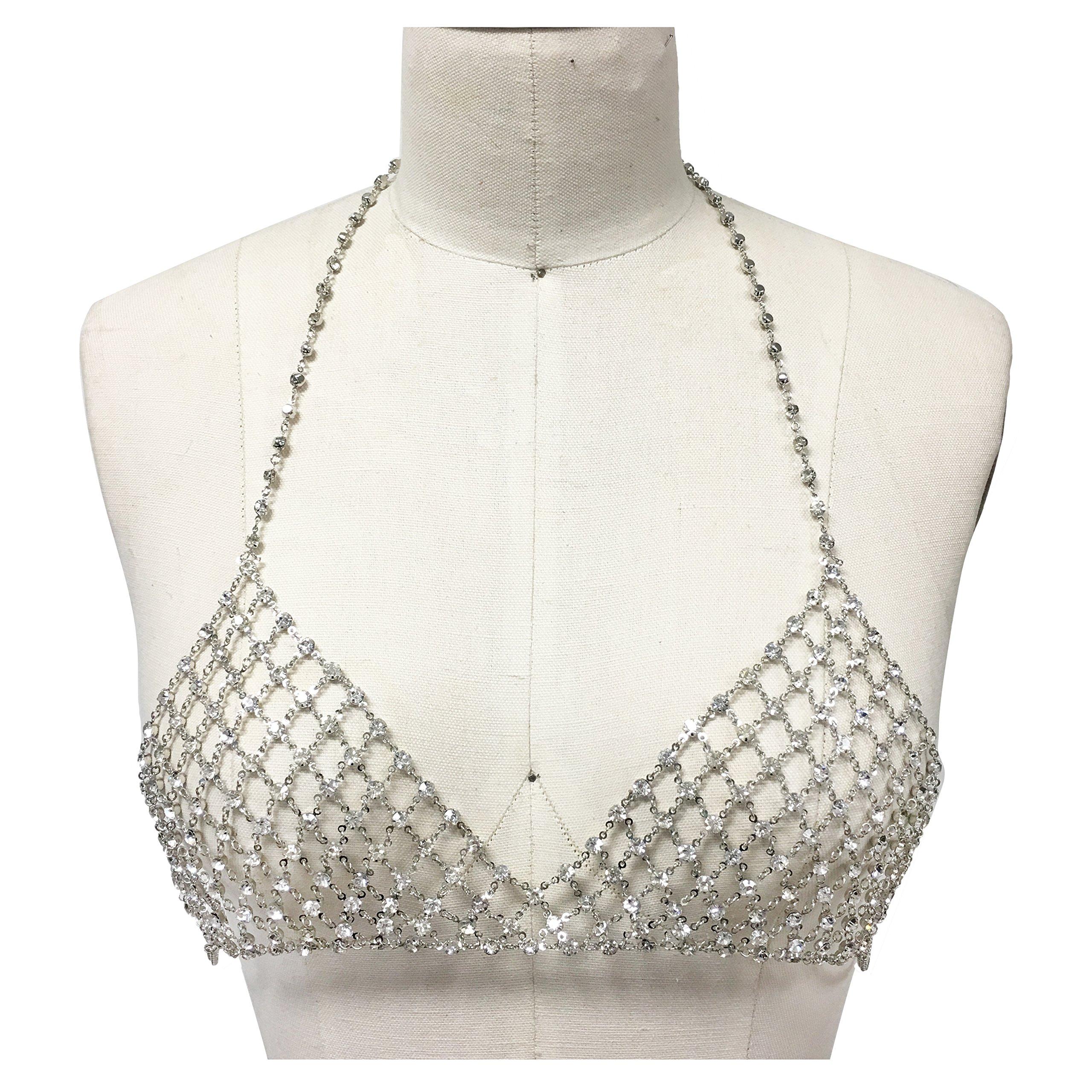 Metal bra rhinestone silver bikini chain bralette