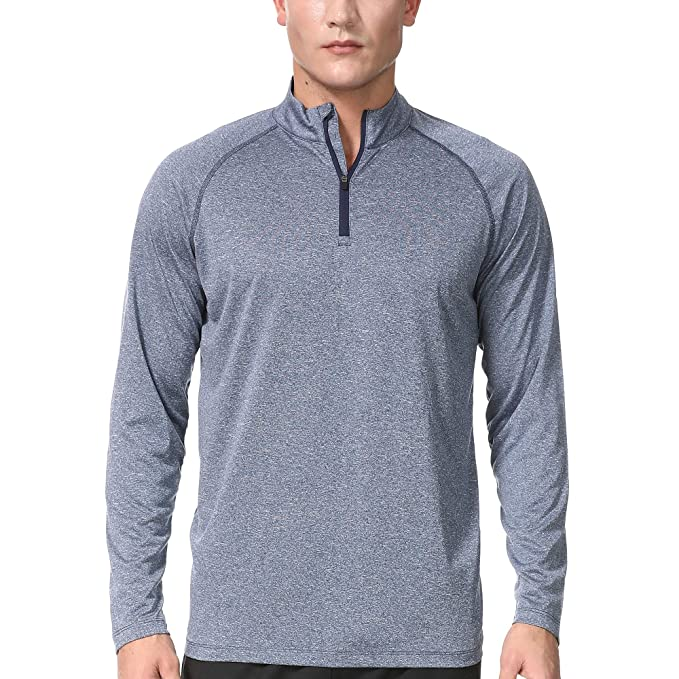 52fdf54fcc04 COSSNISS Men s 1 4 Zip Athletic Shirts Dry Fit Running Workout Long Sleeve  Sweatshirt for