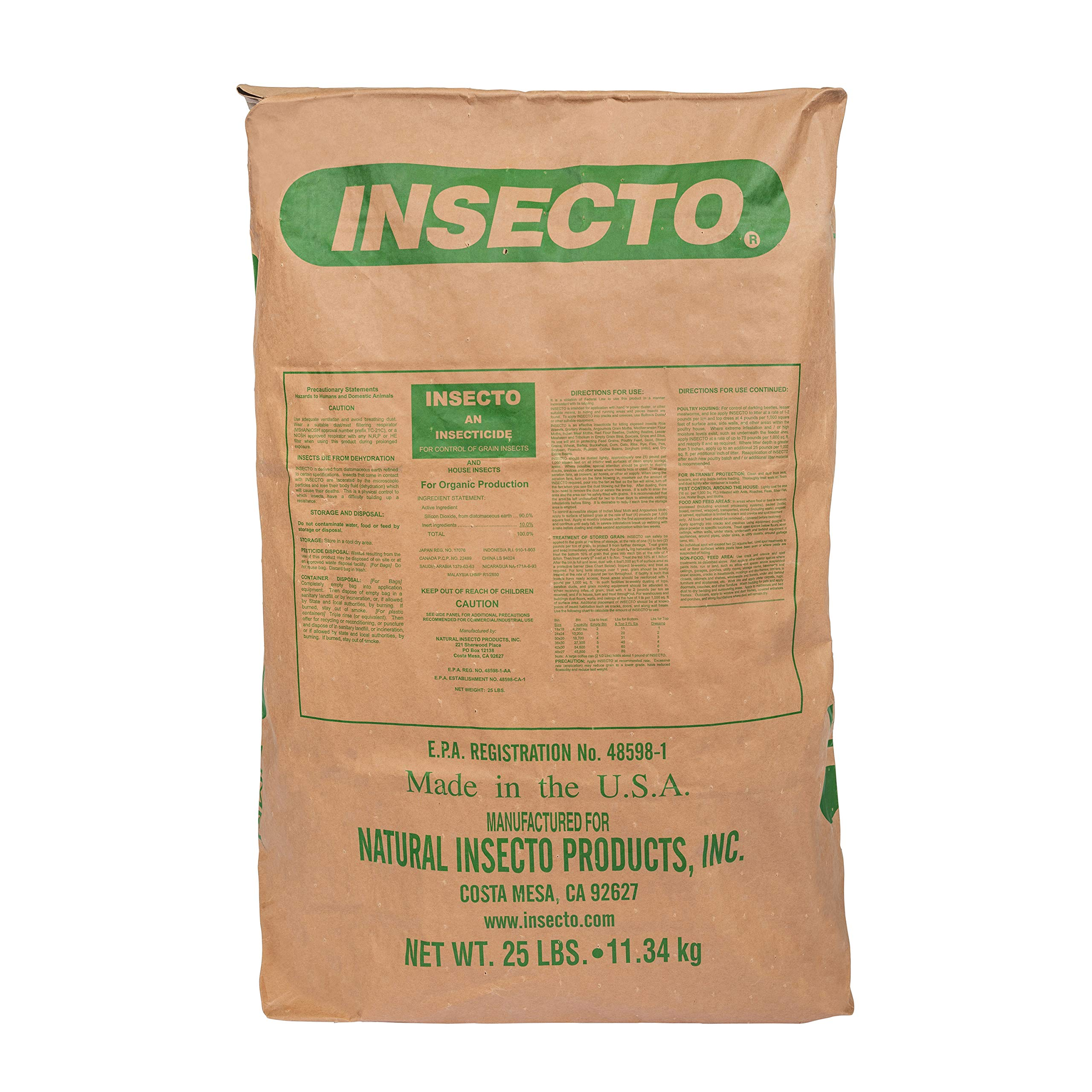 INSECTO Food Grade Diatomaceous Earth - 25 Lbs Bag The Commercial Pest Control Powder for Multipurpose Use on Grain Storage Livestock and Empty Bin Treatment.