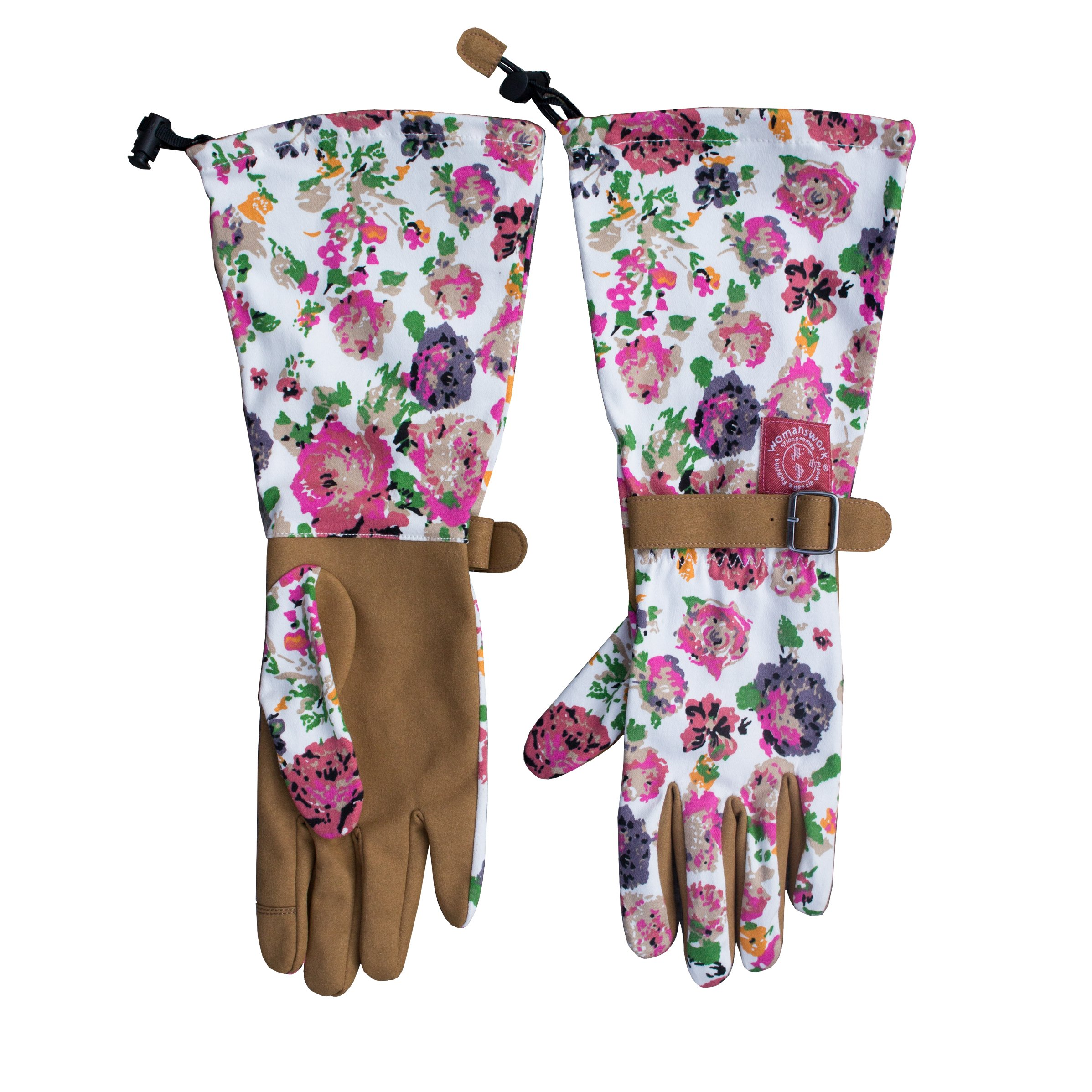 Womanswork Floral Pattern Arm Saver Gloves, Medium