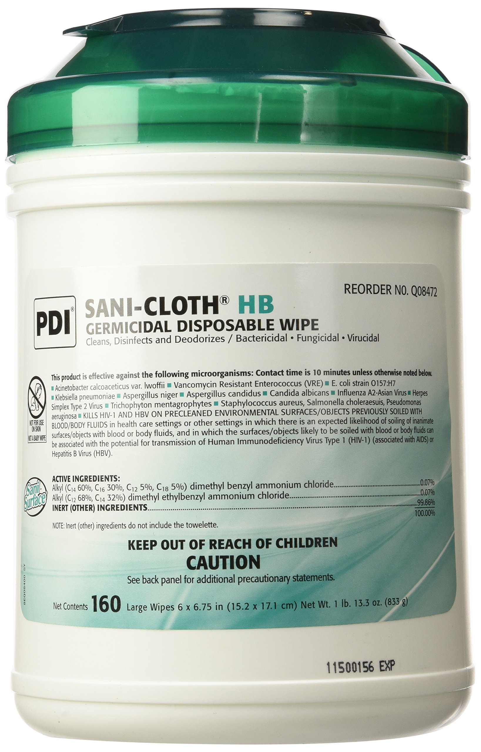 PDI Sani-cloth HB Germicidal Disposable Wipes 6'' X 6-3/4'' (1 Pack of 160) - 13.3 oz.