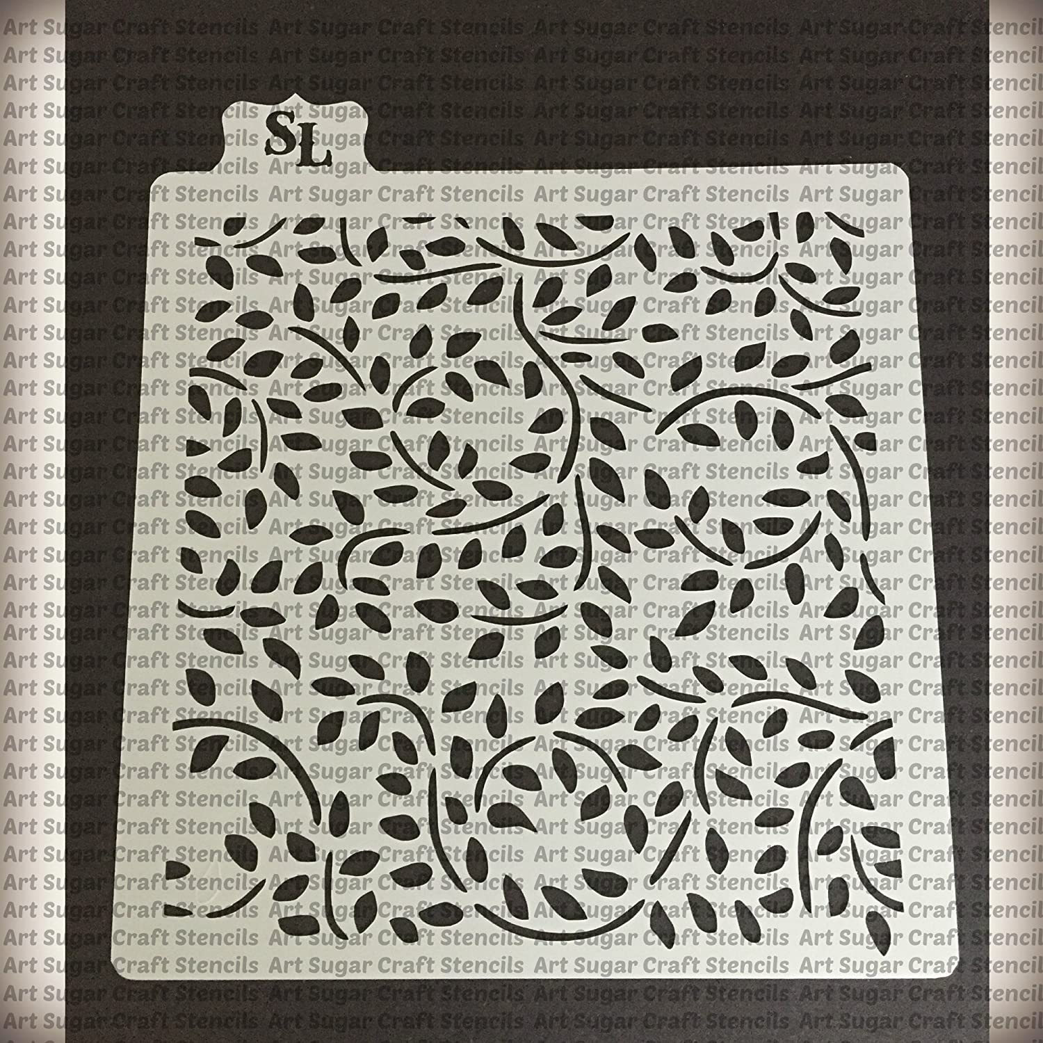 Leaves and swirl Cookie stencil - cupcake designs for air brush - Royal icing Stencil LAnd
