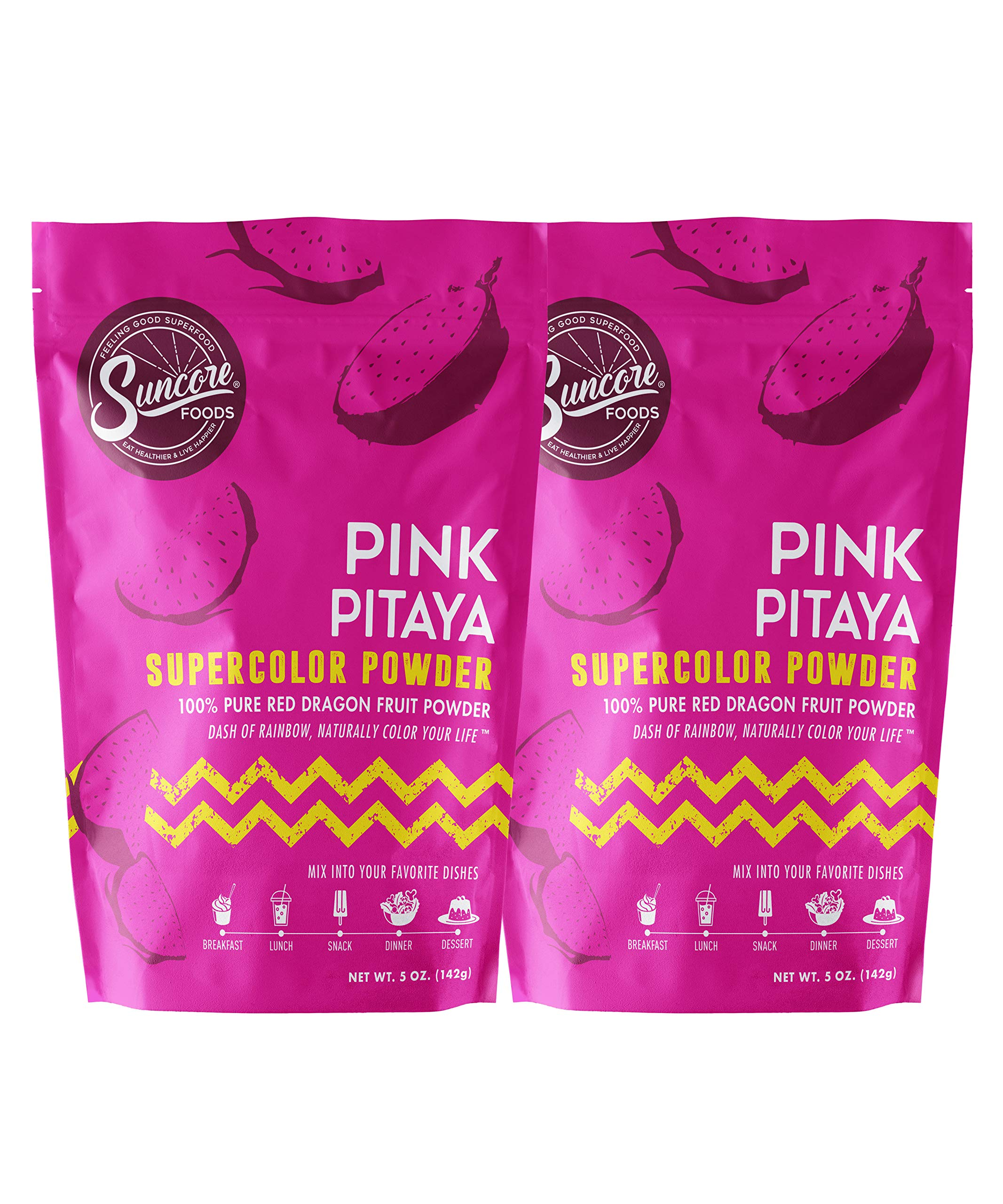 Suncore Foods - 100% Pure Pitaya Dragon Fruit Natural Supercolor Powder, 5oz each, 10oz Total (2 Pack)