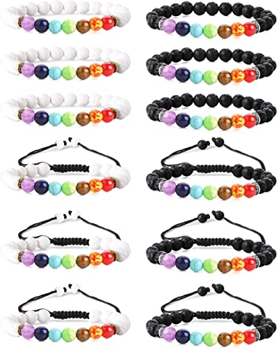 Jstyle 12Pcs Lava Bead Bracelet for Women Men Essential Oil Beads Chakra Yoga Bracelets Set