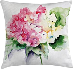 Ambesonne Floral Throw Pillow Cushion Cover, Hydrangea Flower Bouquet in Watercolor Blossoms Botany Petals Image, Decorative Square Accent Pillow Case, 18