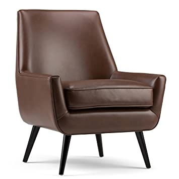 Marvelous Simpli Home Warhol 30 Inch Wide Mid Century Modern Accent Chair In Saddle Brown Faux Air Leather Onthecornerstone Fun Painted Chair Ideas Images Onthecornerstoneorg