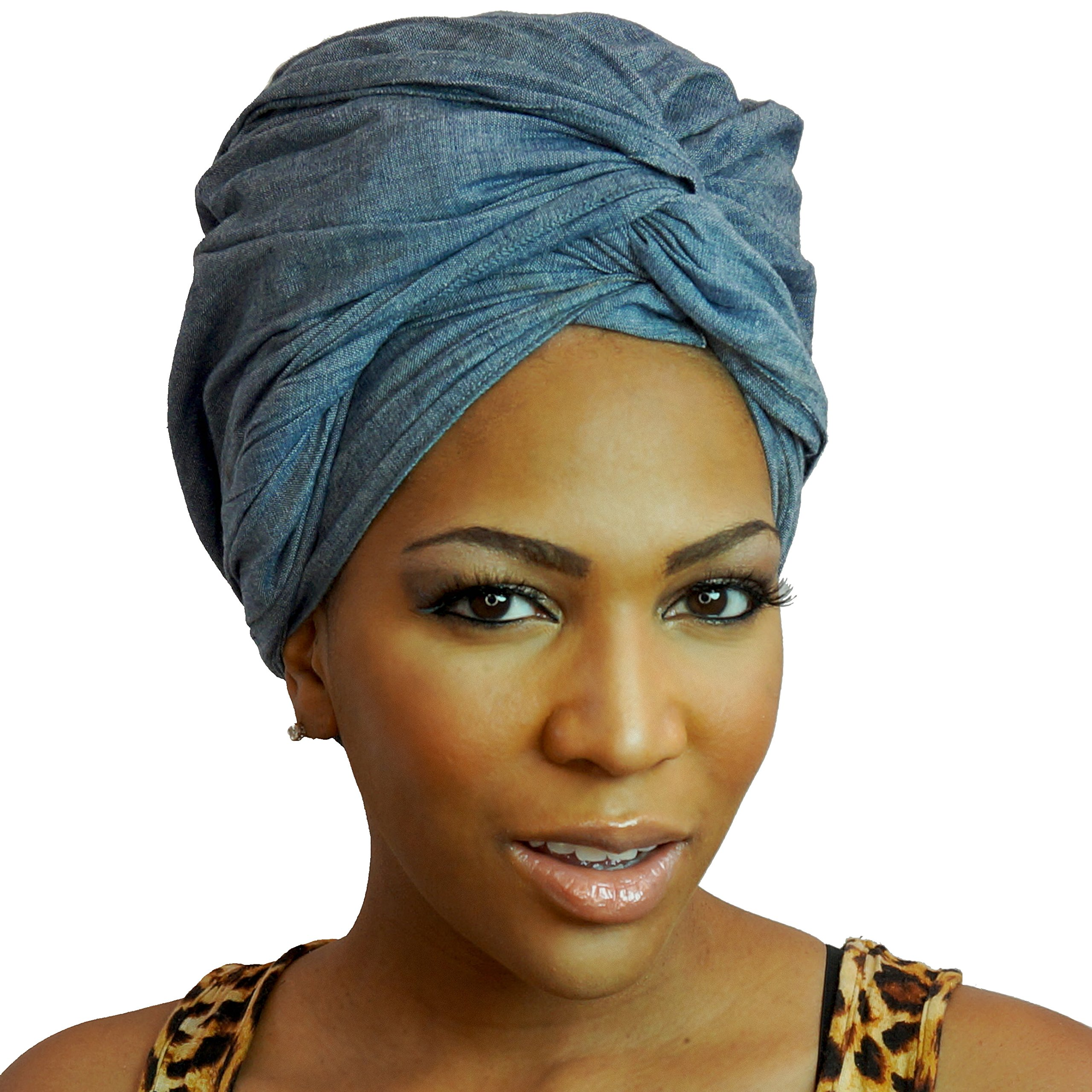 Urban Turbanista Head Wrap- Demin Blue -Chambray Headwrap Scarf