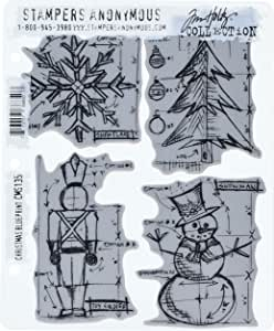 Stampers Anonymous Tim Holtz Cling Rubber Stamp Set, 7 by 8.5-Inch, Christmas Blueprint