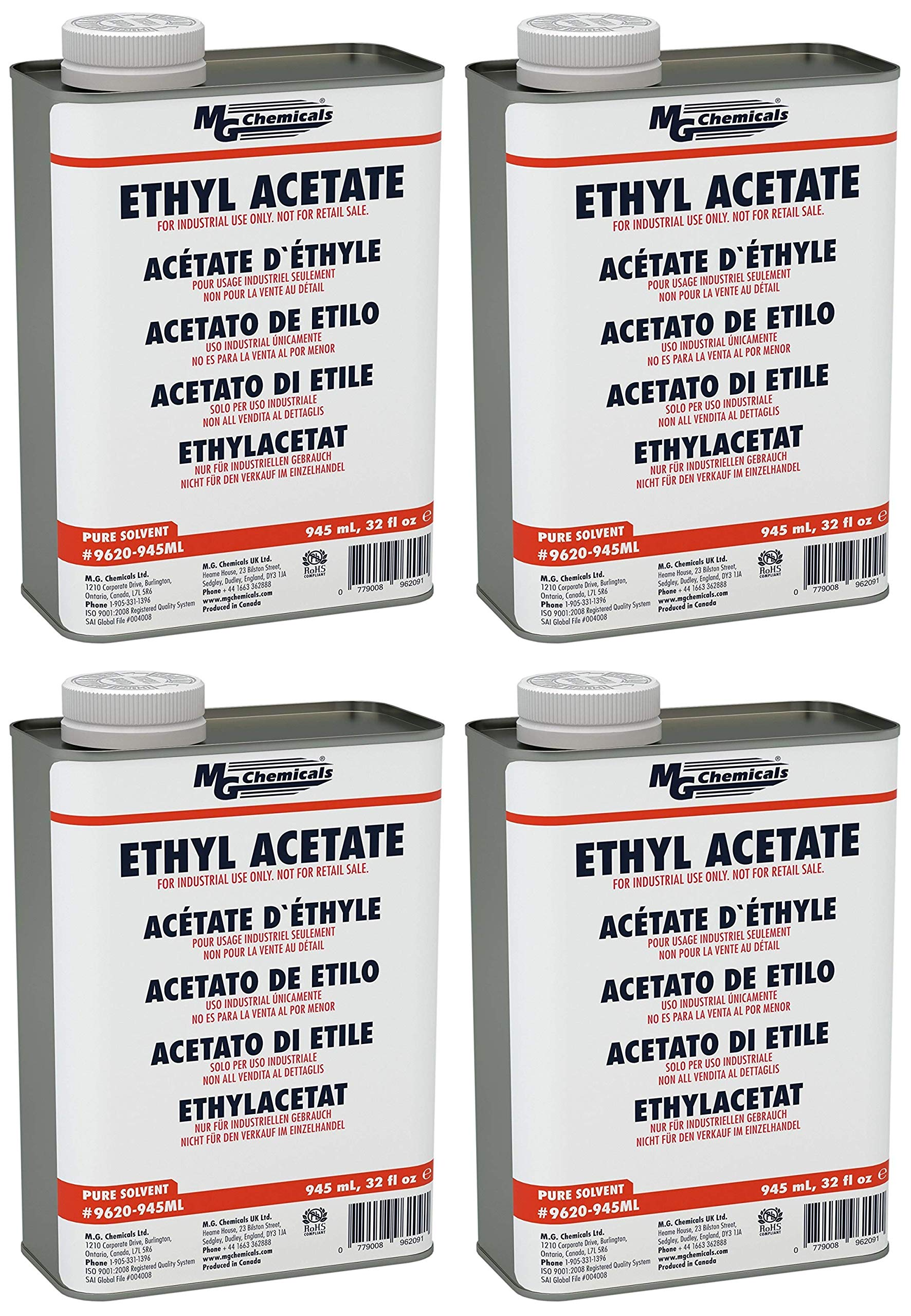 MG Chemicals Ethyl Acetate, 945 mL Metal Can, (Fоur Расk)