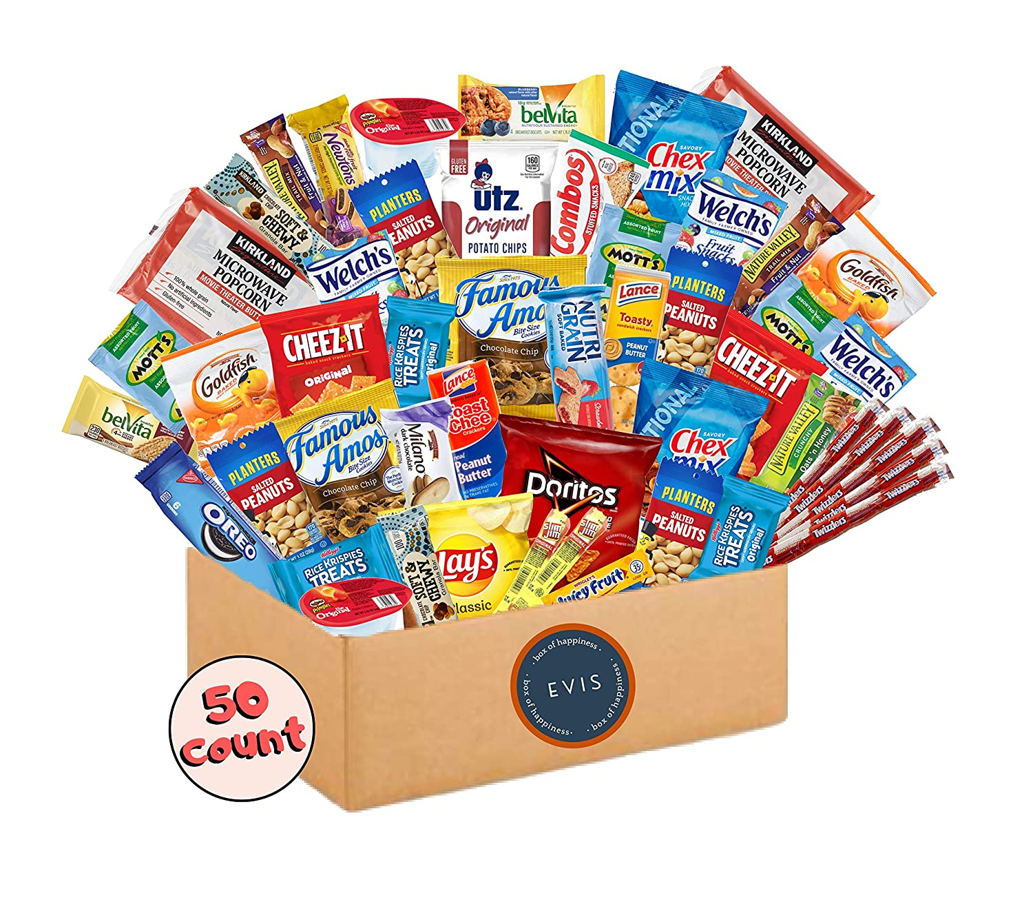 EVIS Variety Snack Pack (50 Count) Easter Candy Gift Basket, Ultimate Care Package for College Students, Birthday Party Gift for Men, Women, Kids, Natural Bars, Nuts, Cookies, Chips, Fruit Snacks