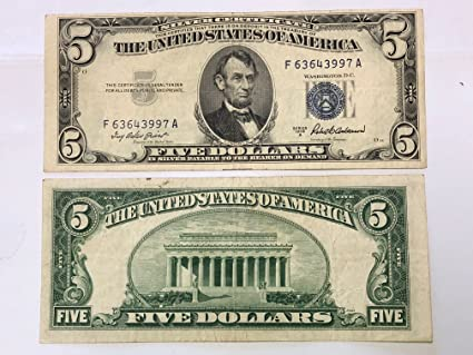 1953 Mixed FIVE DOLLAR - SILVER CERTIFICATE $5 US Mint Circulated at ...