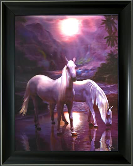 Amazon.com - Lee\'s Collection Two Horses in Lake 3D Holographic ...