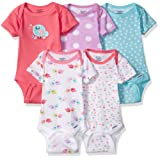 Gerber Baby Girls' 5-Pack Short-Sleeve Onesies