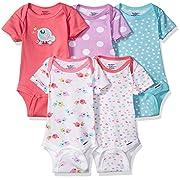 Gerber Baby Girls' 5-Pack Short-Sleeve Onesies Bodysuit, Little Birdie, 6-9 Months