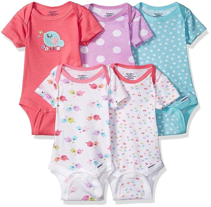Amazon.com: Gerber Baby Girls\' 5 Pack Onesies, Birdie, Newborn: Clothing