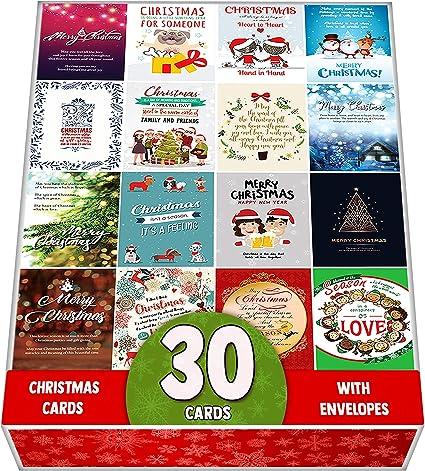 Pack De 30 Tarjetas De Felicitación De Navidad Surtidas, Postales ...