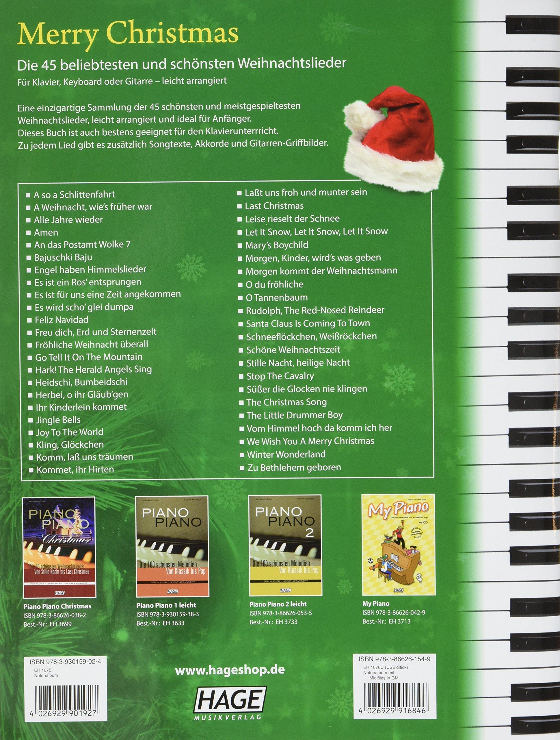 Merry Christmas für Klavier, Keyboard oder Gitarre: Die 45 ...