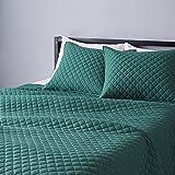 Amazon Basics Cotton Jersey Quilt Set - Full/Queen, Dark Green