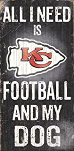 Fan Creations Sign Kansas City Chiefs Football and My Dog, Multicolored
