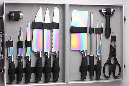 Pradel Excellence I7202TI - Juego de 12 Cuchillos, con Revestimiento de Titanio, 35,5x 28,5x 8,3cm, Incluye maletín