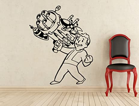 Fallout Boy With Gun Wall Decal Video Game Gaming Room Vinyl Sticker Wall  Art Decor Removable