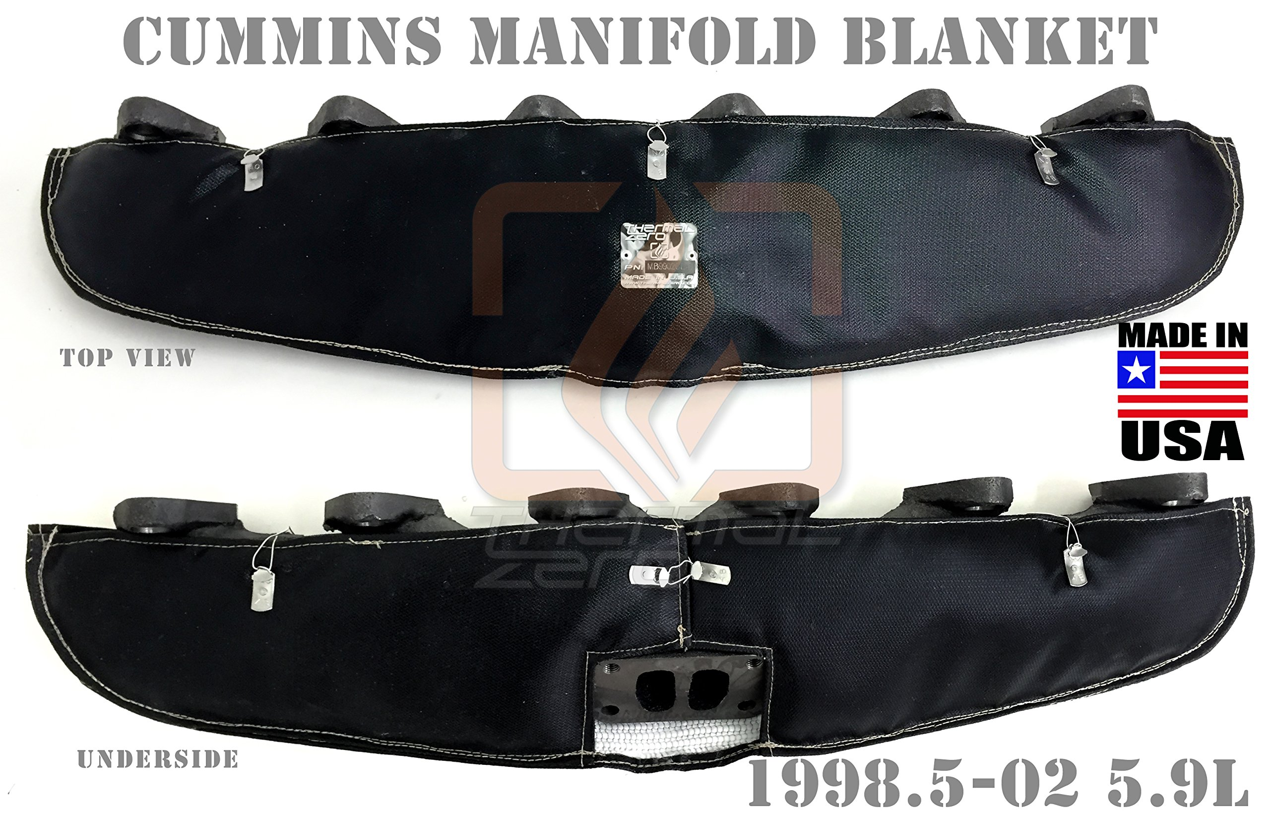 BLACK TURBO MANIFOLD BLANKET FOR 12V AND 24V 1999 - 2002 DODGE RAM 2500 AND 3500 5.9 CUMMINS DIESEL Holds 2400 degrees. MADE IN USA - MB9902CD-B