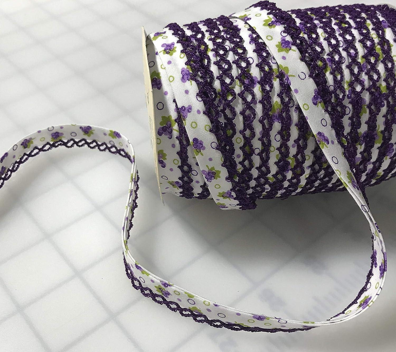 Purple Floral Double Fold Bias Trim with Picot Edge
