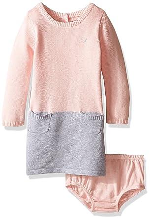 4b8a2fa090c Nautica Baby Girls  Colorblock Sweater Dress  Amazon.in  Clothing ...