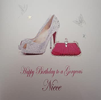 White Cotton Cards Large Shoes And Bag Happy Birthday To A Gorgeous