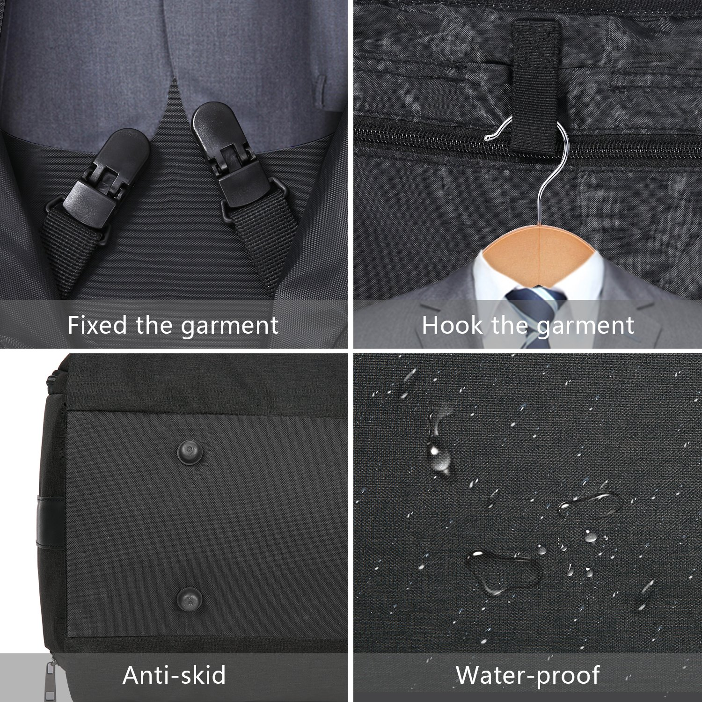 Carry-on Garment Bag Suit Travel Bag Duffel Bag Weekend Bag Flight Bag Gym Bag - Black by UNIQUEBELLA (Image #9)