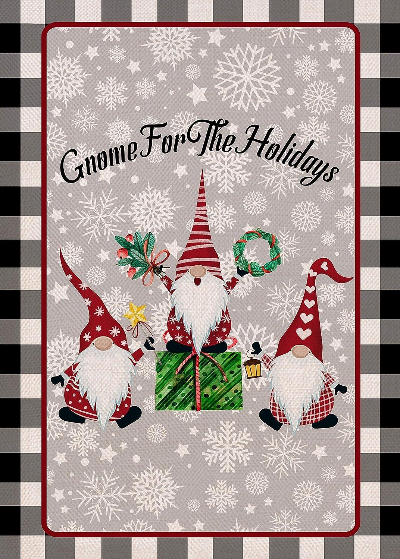 Covido Home Decorative Christmas Garden Flag, Gnome for the Holidays House Yard Merry Xmas Buffalo Plaid Check Decor, Winter Farmhouse Outside Decoration Seasonal Outdoor Small Flag Double Sided 12x18