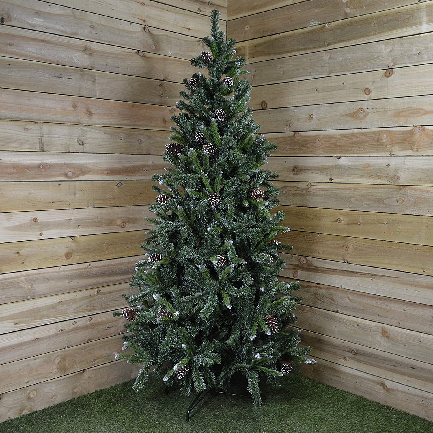 7ft (210cm) Snow King Fir Christmas Tree with Pine Cones Transcon