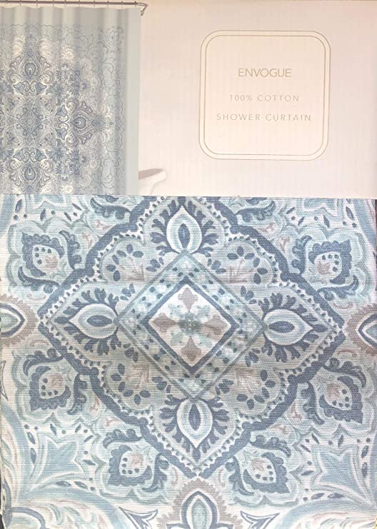 ENVOGUE Home Fabric Designer Shower Curtain Floral Pattern in Shades of Blue on White