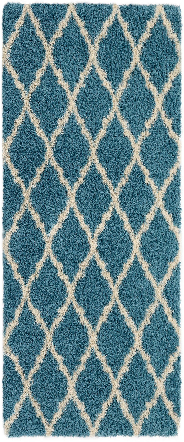 Ottomanson Ultimate Shaggy Collection Moroccan Trellis Design Contemporary Hallway & Kitchen Shag Runner Rugs, Turquiose Blue, 2'7''L X 8'0''W by Ottomanson