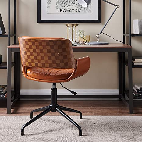 Amazon Com Volans Leather Office Chair Mid Century Vintage Swivel Office Desk Chair No Wheels Adjustable Height Task Chair With Armrest Brown Kitchen Dining