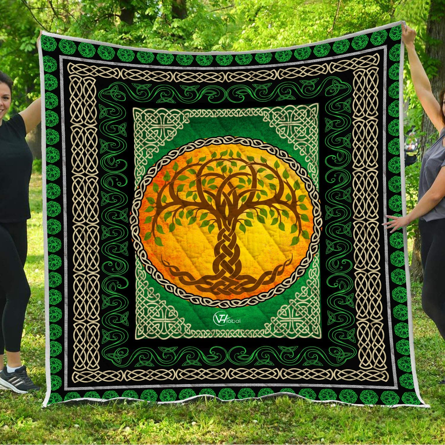 VTH Global Tree of Life Quilt Pattern Blanket Comforters with Reversible Cotton King Queen Full Twin Size Irish Celtic Trinity Knot Quilted Birthday Gifts for Men Women Dad Mom Boys Girls