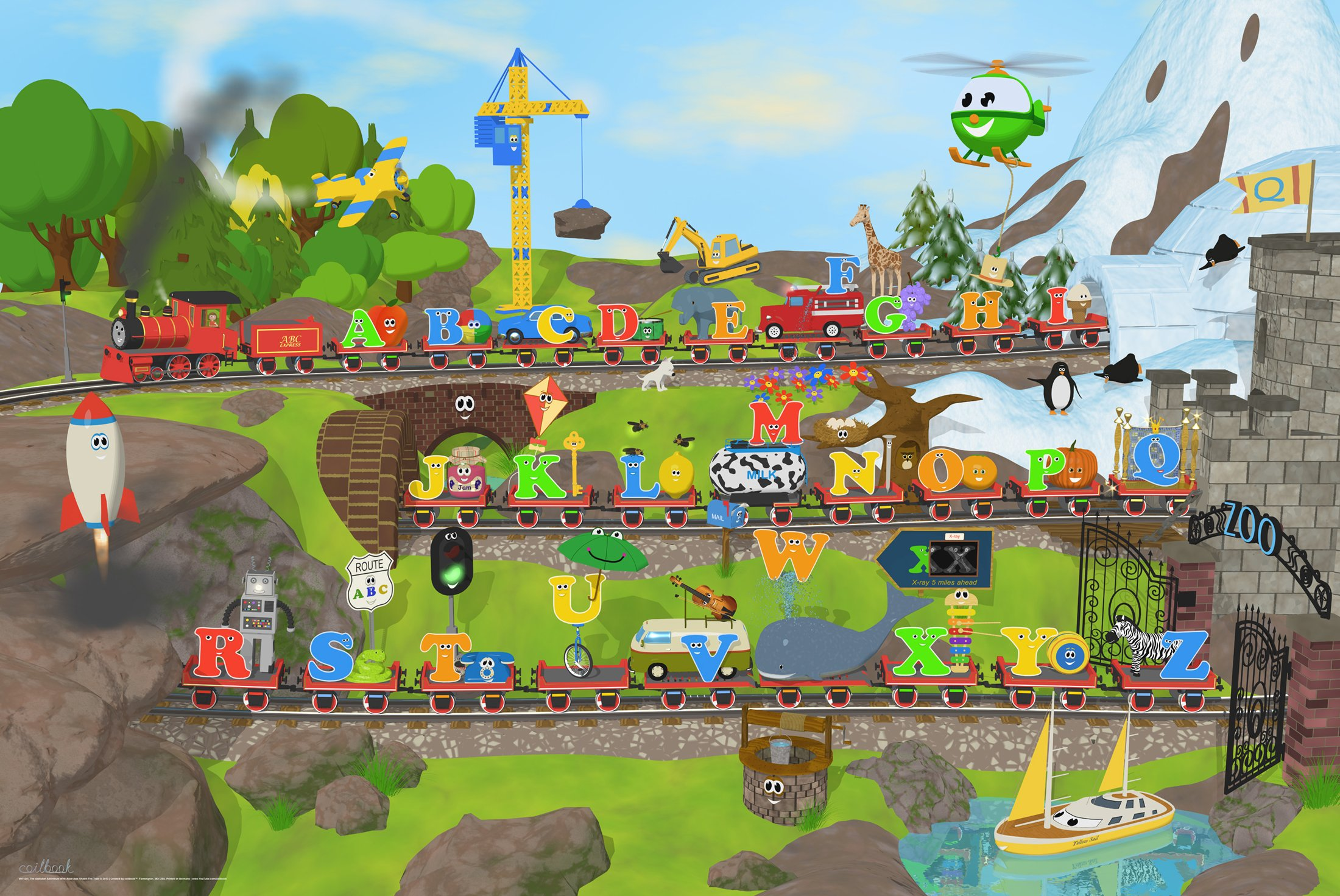 Alphabet Train Poster, 36x24, Two Objects Per Letter!